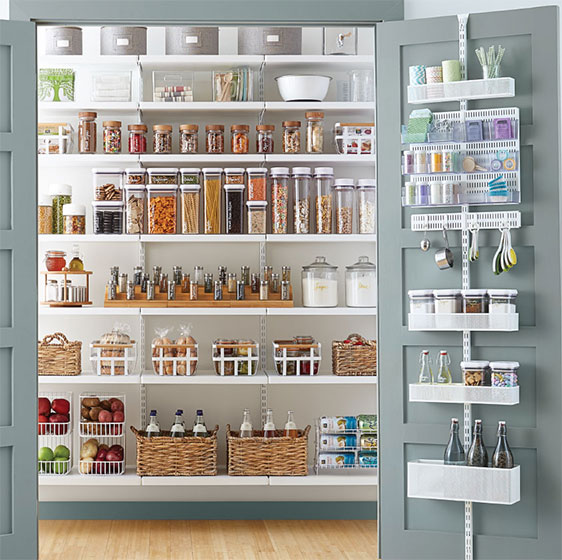 pantry for kitchen bright light fixtures shelving ideas designs shelves pantries white elfa decor with utility door wall rack