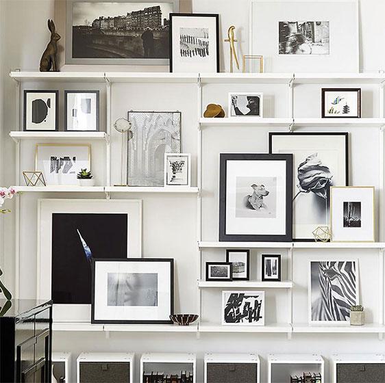 inspiration for living room white and dark wood furniture shelving ideas design entertainment wall elfa decor art