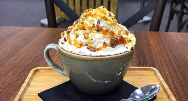 Crunchy and toffee hot chocolate from Guilty Pleasures coffee shop in Liverpool