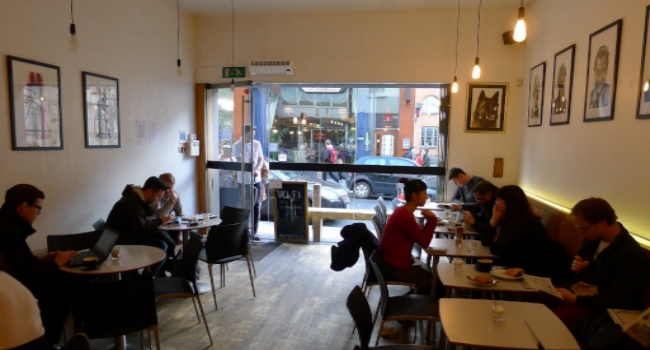 People sitting in Bold Street Coffee in Liverpool