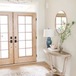 Wood French Patio Doors Light Farmhouse Style Entryway Pella