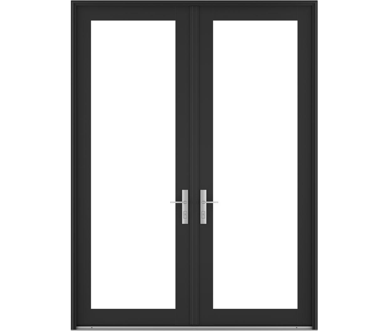 contemporary wood hinged patio doors