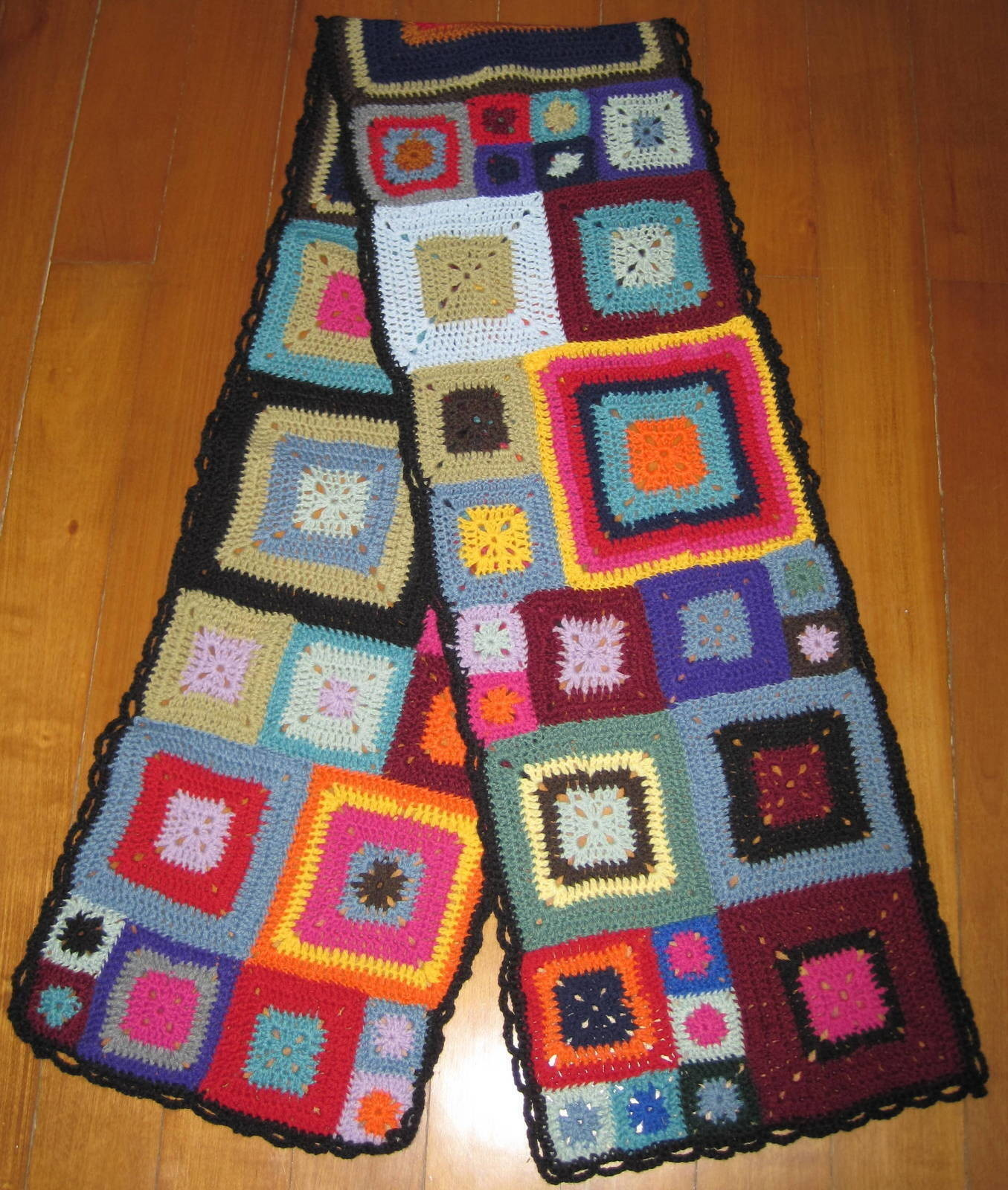 crochet granny square diagram vw passat radio wiring scarf aka what to do with those babette blanket a for how assemble using any crocheted pattern free