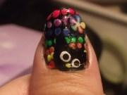 black & rainbow nails
