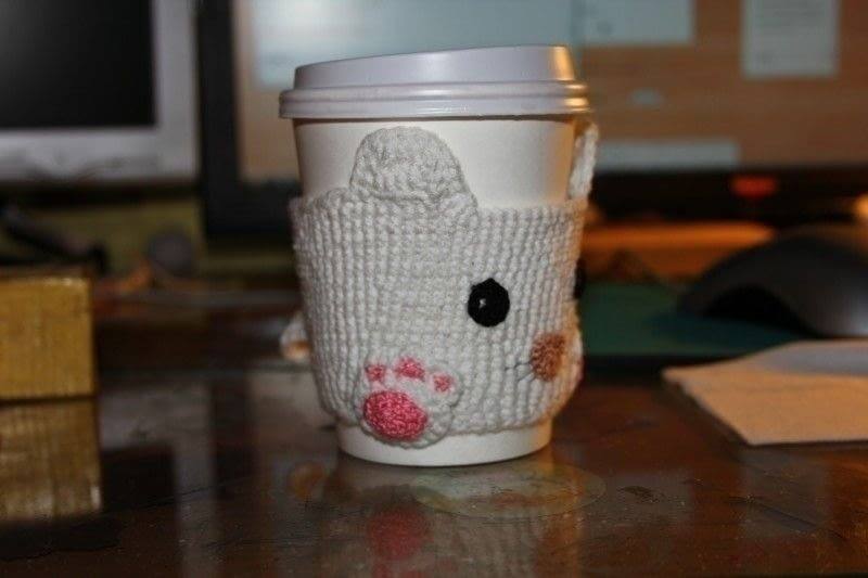 Cute Cat Cup Cozy A Mug Warmer Crochet On Cut Out