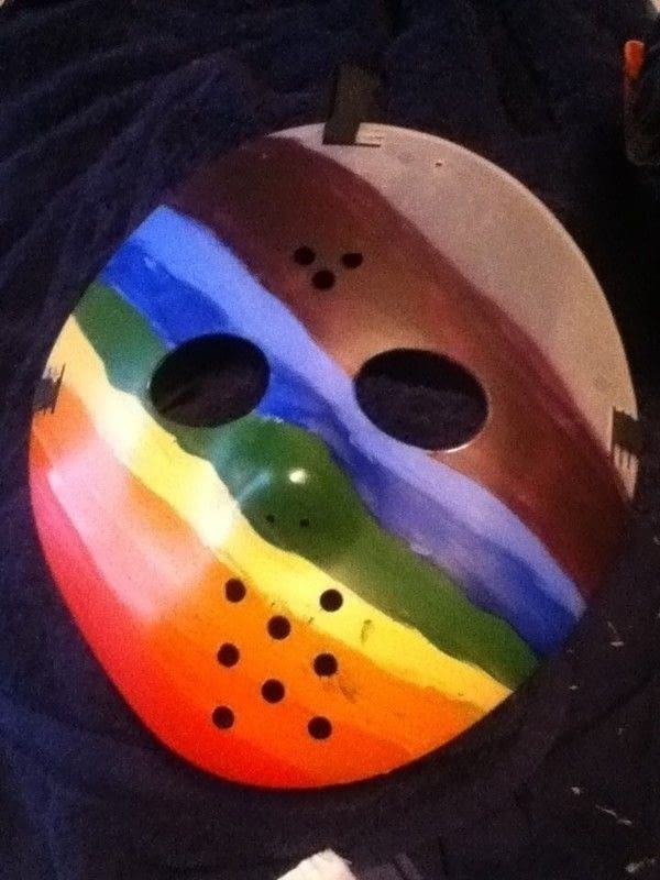 Jason Rainbow Mask  A Mask  Decorating on Cut Out  Keep  Creation by Becky M