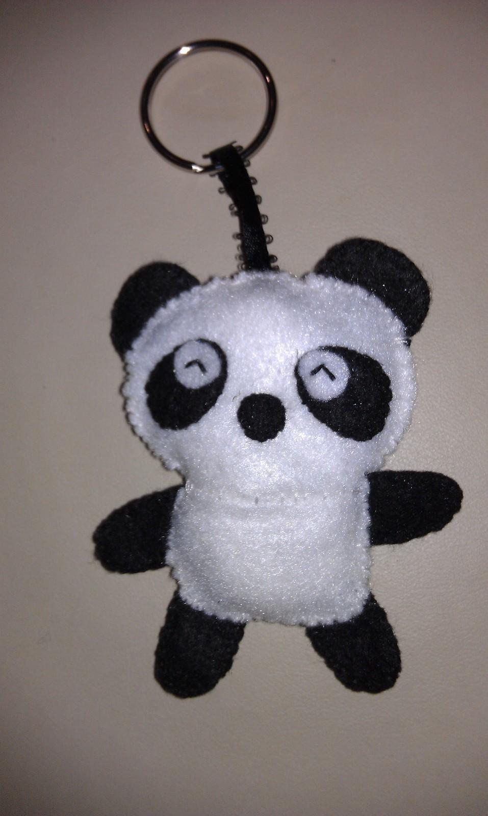 Felt Panda Key Chain A Fabric Animal Charm Sewing On