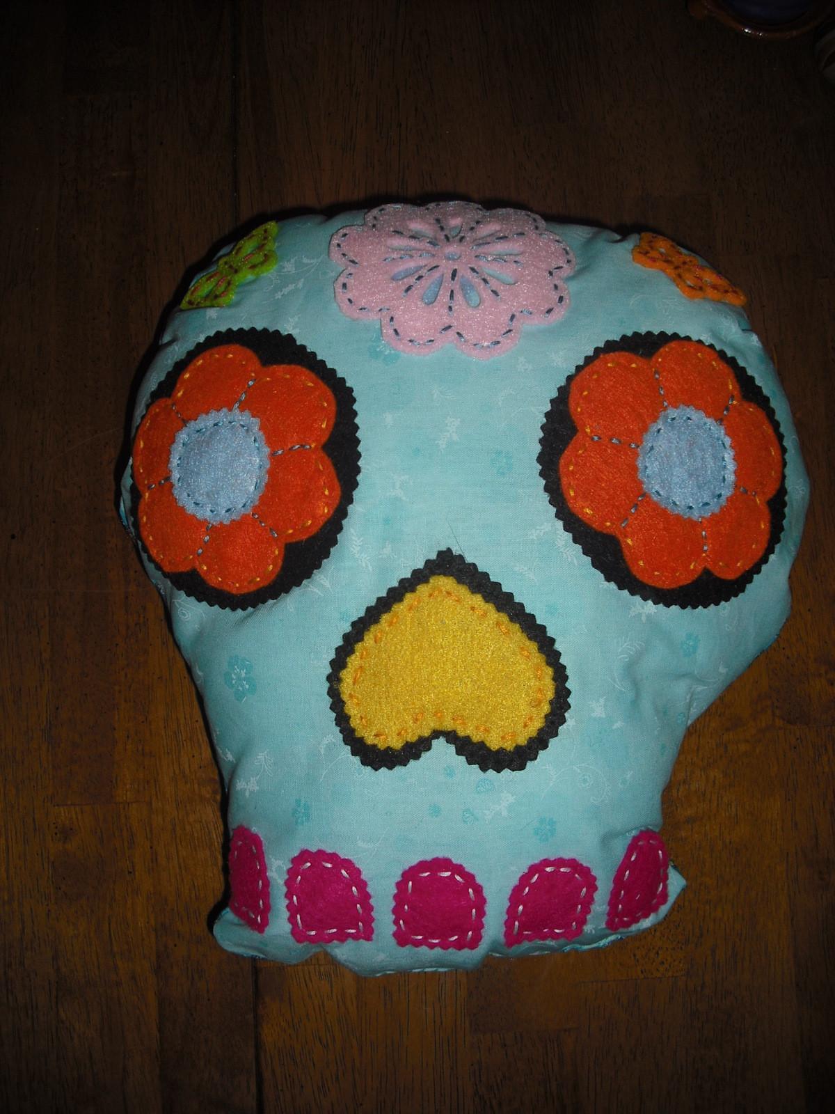 Sugar Skull Pillows  A Shaped Cushion  Sewing on Cut Out