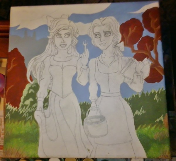 Ariel & Belle Drawing Painting Art And Cut