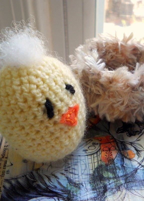 Crocheted Baby Chick In Nest A Chicken Plushie Crochet