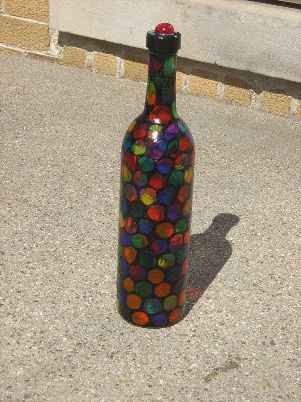 Faux Stained Glass Altered Bottle  A Storage Bottle  Art