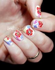 floral nail art paint