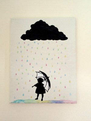 silhouette canvas cloud rain easy paintings cut artwork craft drawings simple tutorial projects project