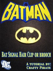 batman bat signal hair barrette brooch