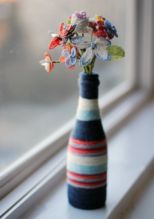 Diy Yarn Wrapped Bottle Vase How To Decorate A Bottle