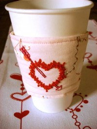 Embroidered Coffee Cup Cozy  How To Make A Mug Warmer ...