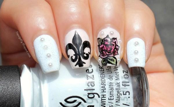 Edgy Feminine Nail Art Fleur De Lis & Inked Rose