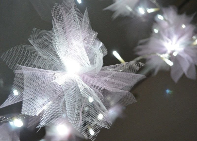 Diy Tulle Flower Fairy Lights  How To Make Fairy Lights