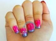 pink princess crown nails