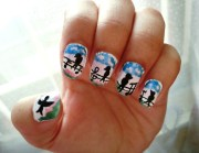 bird silhouette nail art