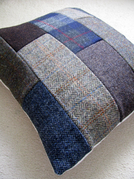 Diy Harris Tweed Patchwork Cushion  How To Sew A
