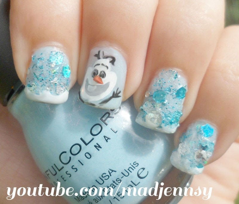 Olaf! Frozen Inspired Nail Art  How To Paint A Glitter