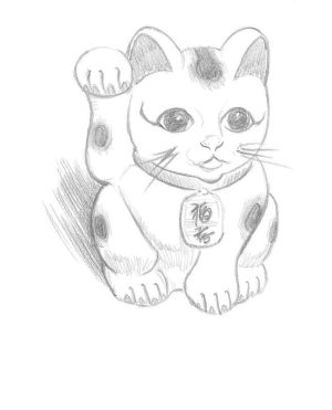 maneki neko draw things animal drawings drawing paint simple projects project step pencil cats cost