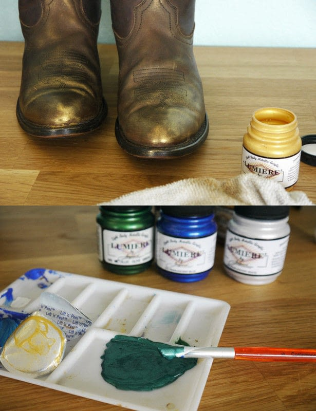Sassy Cowgirl Boot Refashion With Fabric Paint  How To