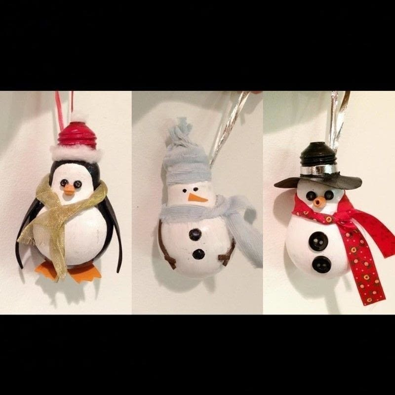 Snowman Light Bulb Ornaments  How To Make A Christmas