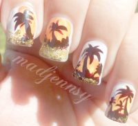 Glittery Palm Tree Nail Art  How To Paint A Glitter Nail ...