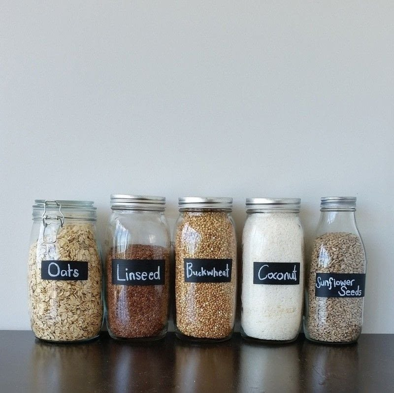 decorative glass jars for kitchen diy island with seating painted chalk labels your · how to decorate ...