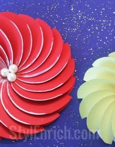 how to make flowers with chart paper step by step