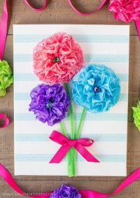 Tissue Paper Flower Bouquet Canvas  How To Make Wall ...