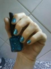 metallic baby blue glitter nail