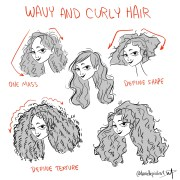 wavy and curyl hair draw