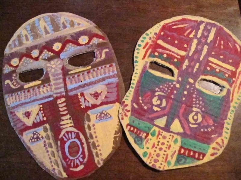 Cardboard Masks  A Mask  Decorating on Cut Out  Keep  Creation by Eva