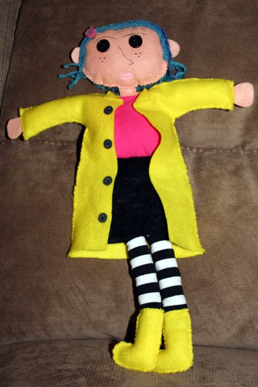Coraline Doll  A Movie Plushie  Sewing on Cut Out  Keep  Creation by Amy B