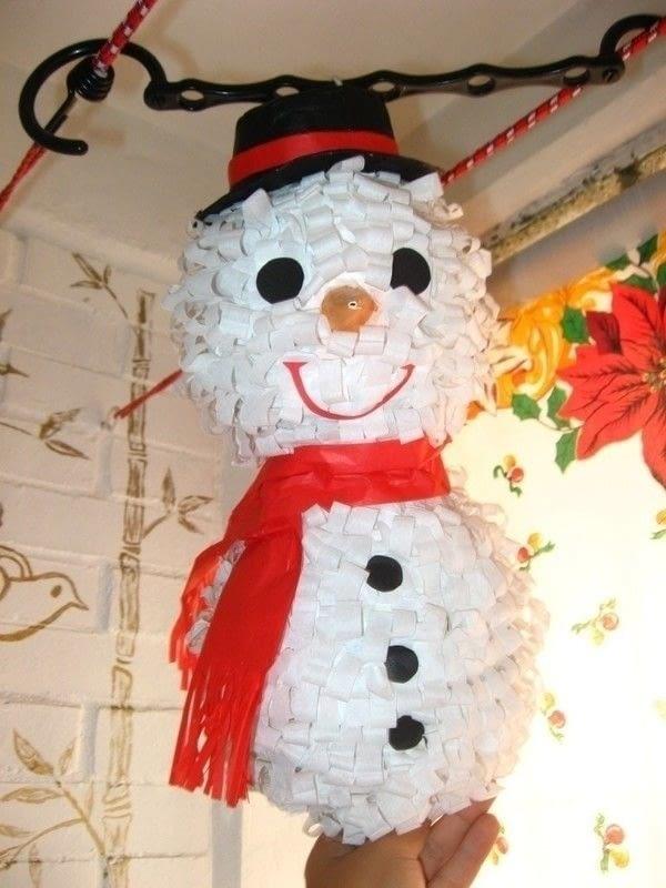 Snow Man Pinata  A Piata  Papiermch on Cut Out