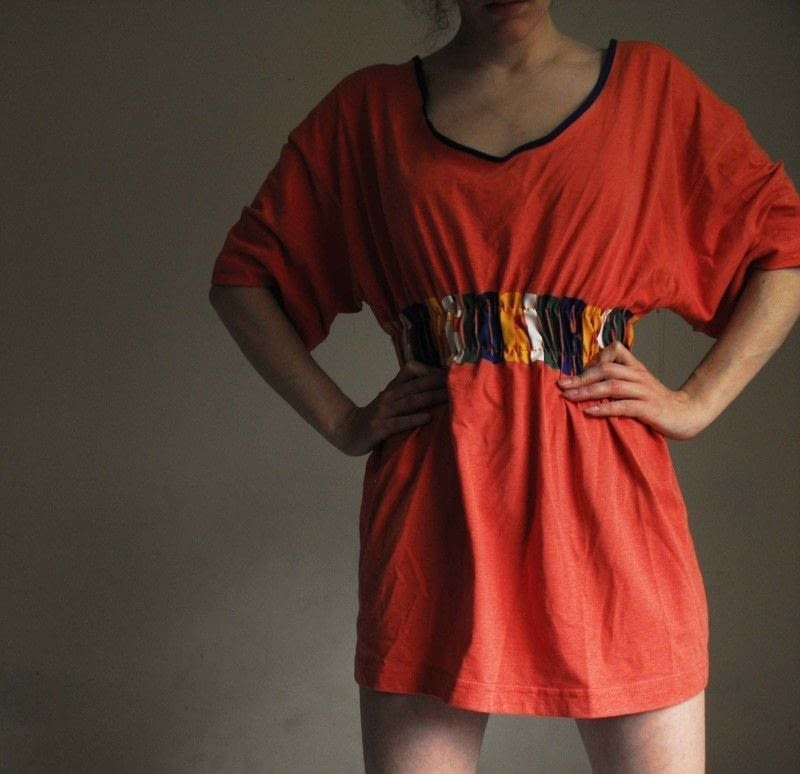 Recycled/Upcycled t-shirt tunic/dress with cinched waist from large t-shirt