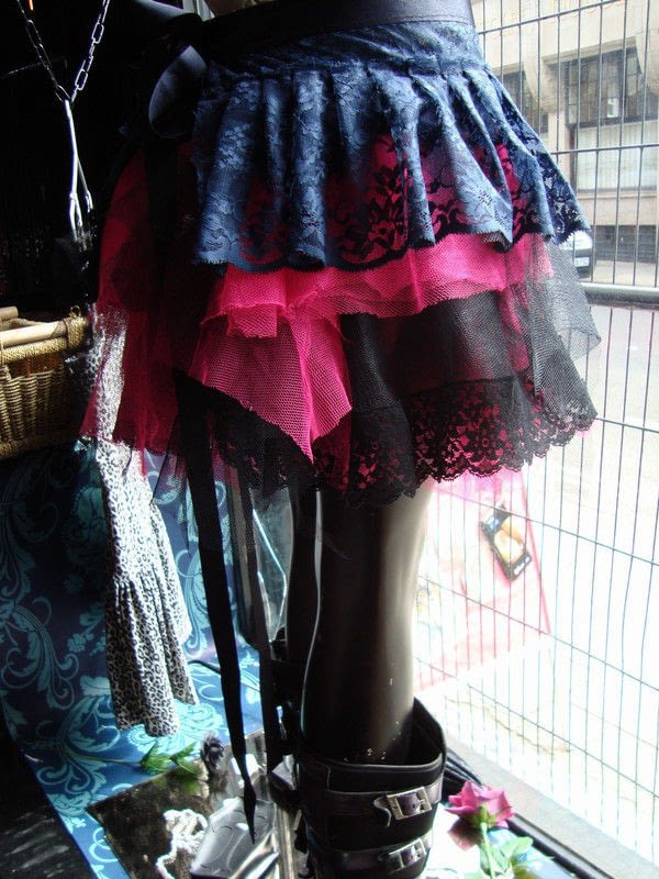 Pink And Black Gothic Net And Lace Skirt  How To Sew A Lace Skirt  Dressmaking on Cut Out  Keep