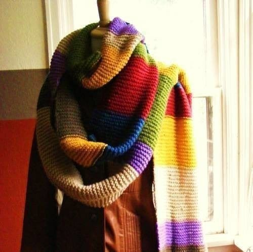Dr Who Scarf A Stripy Scarf Knitting On Cut Out