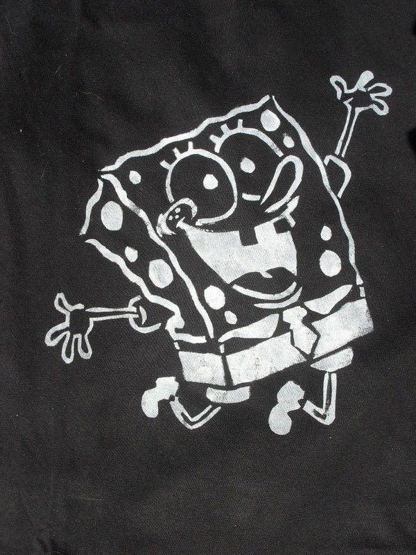 Sponge Bob Stenciled Shirt  A T Shirt  Stencilling on Cut Out  Keep