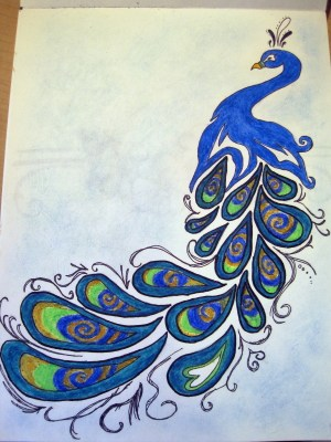 peacock drawing easy drawings draw cool peacocks doodle drawn pretty peacok animals pen google beauty flower coplusk project