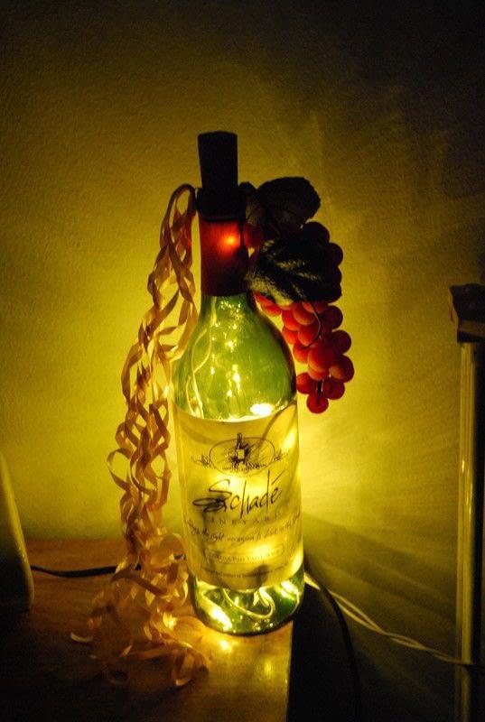 Light Up Wine Bottle  A Bottle Lamp  Decorating on Cut