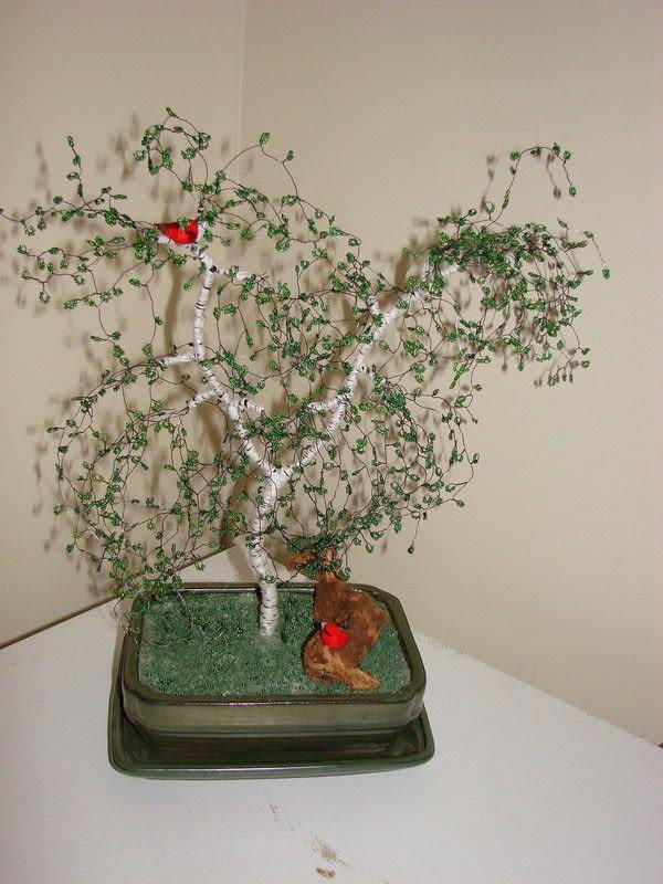 Beaded Birch Wire Tree Sculpture 183 A Wire Tree 183 Beadwork