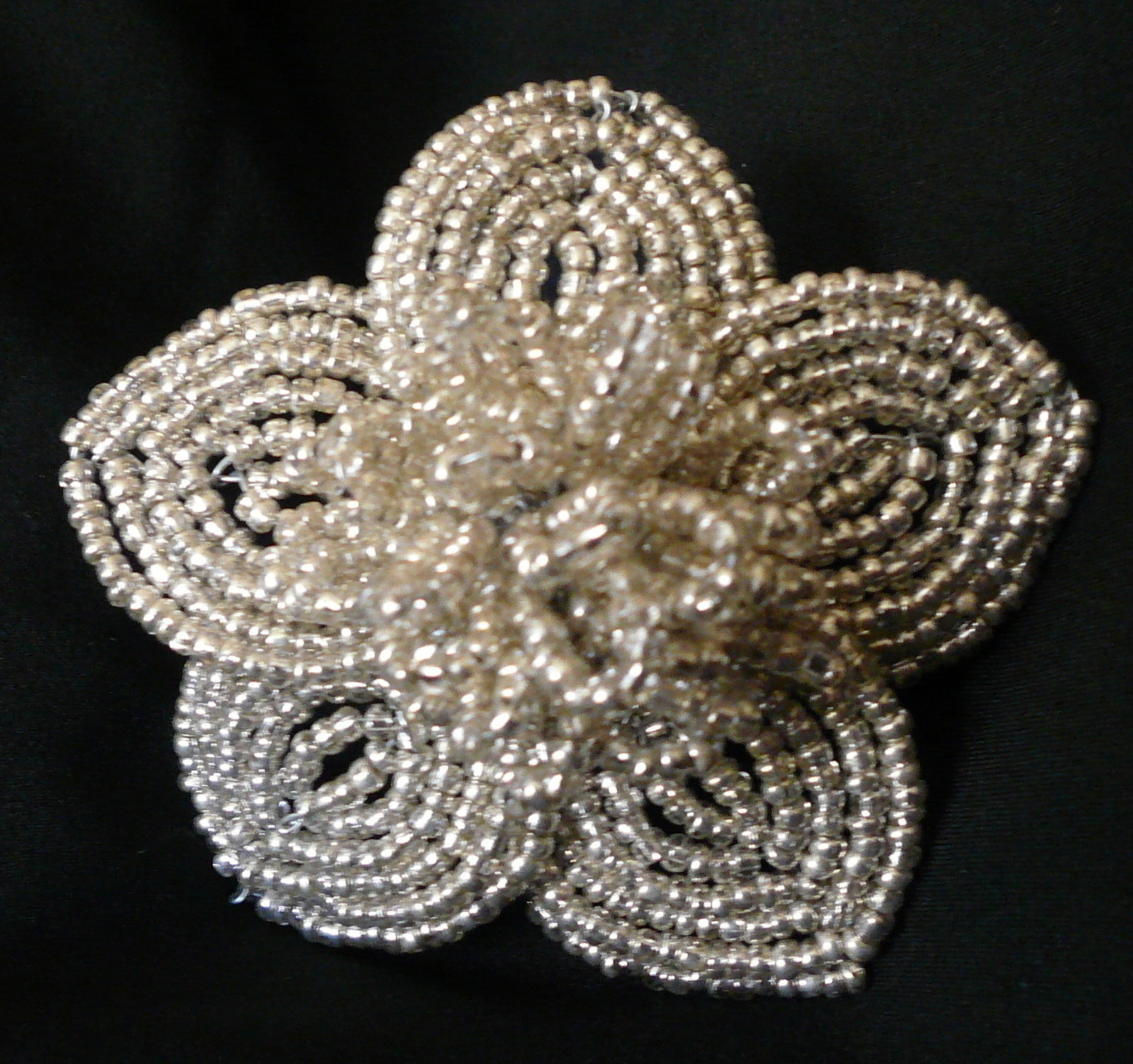 Silver  Black French Beaded Flowers  A Beaded Flower