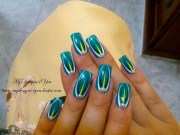 abstract turquoise nail art