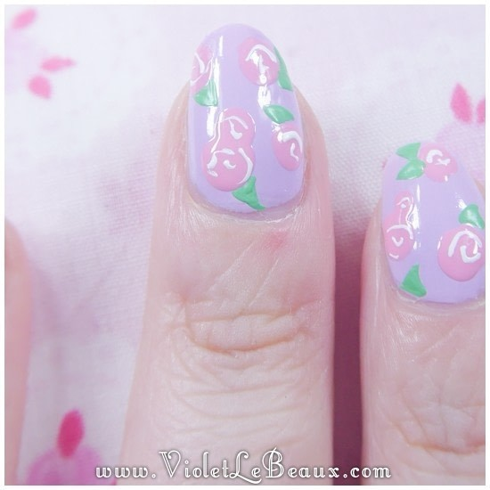 How To Paint Patterned Nail Art Do Rose Print Step