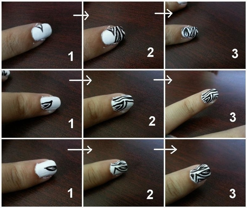 How To Paint An Animal Print Nail Zebra Stripe Art Step 3