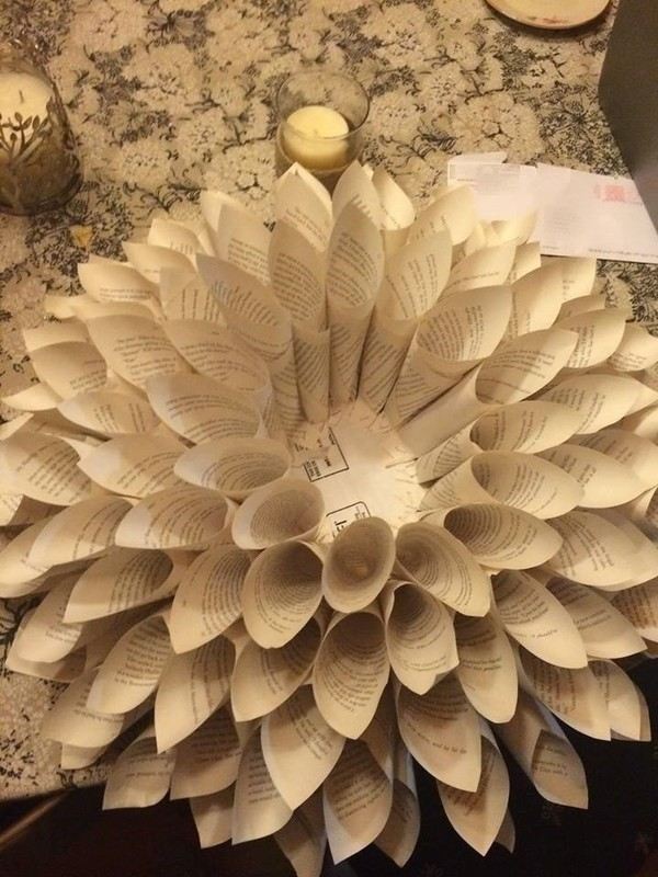 Diy Upcycle Book Page Flower Wreath Wall Hanging Tutorial